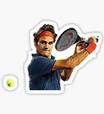Roger Federer in action Sticker
