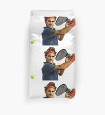 Roger Federer in action Duvet Cover