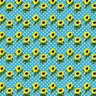 Bright Yellow Sunflowers Blue Polka Dots Summer Pattern by Beverly Claire Kaiya