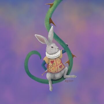 White Rabbit with Rose Thorns - Square Image by artbyaud