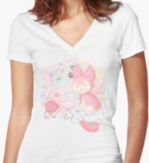 Pastel Skitty Women's Fitted V-Neck T-Shirt