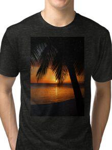 Tropical Palm Tree Ocean Sunset Print Tee Tri-blend T-Shirt