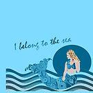 Mermaid Aqua Blue I belong to the sea Duvet Cover by Melissa Park