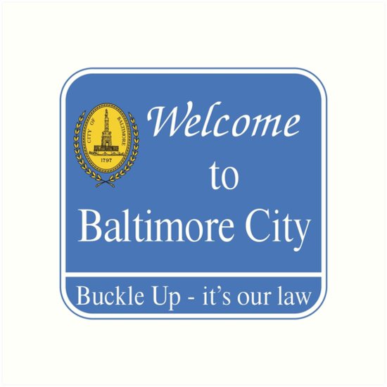 'Welcome to Baltimore City Sign, Maryland, USA' Art Print by worldofsigns