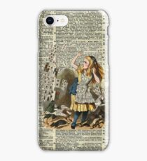 Alice In The Wonderland,Alice and Playing Cards,Vintage Dictionary Art iPhone Case/Skin