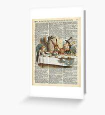 Alice in Wonderland,Tea Time Vintage Illustration,Dictionary Art Greeting Card