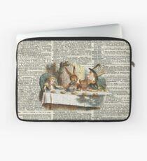 Alice in Wonderland,Tea Time Vintage Illustration,Dictionary Art Laptop Sleeve