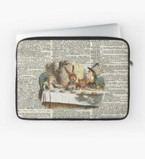 Alice in Wonderland,Tea Time Vintage Illustration,Dictionary Art Laptop Sleeve
