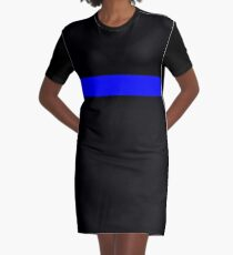 Thin Blue Line Support Police Graphic T-Shirt Dress