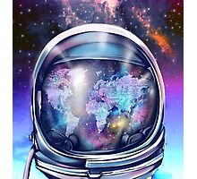 astronaut world map 1 Photographic Print
