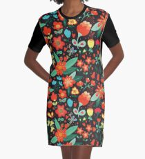 Flowers and hearts Graphic T-Shirt Dress