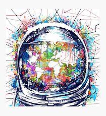 Astronautenweltkarte 3 Fotodruck