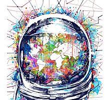 astronaut world map 3 Photographic Print
