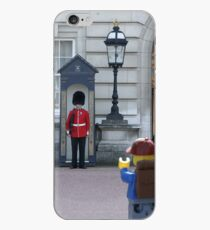 The Lego Backpacker talking to the Queens Guard iPhone Case