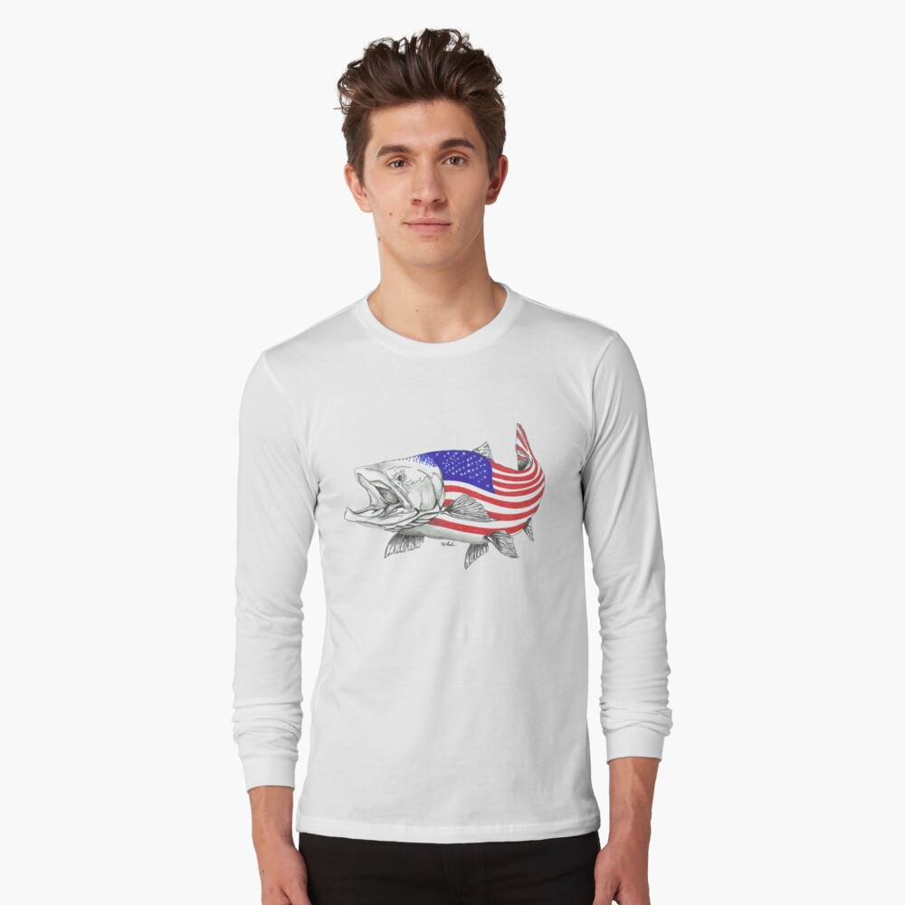 American Steel Head Salmon Camiseta de manga larga