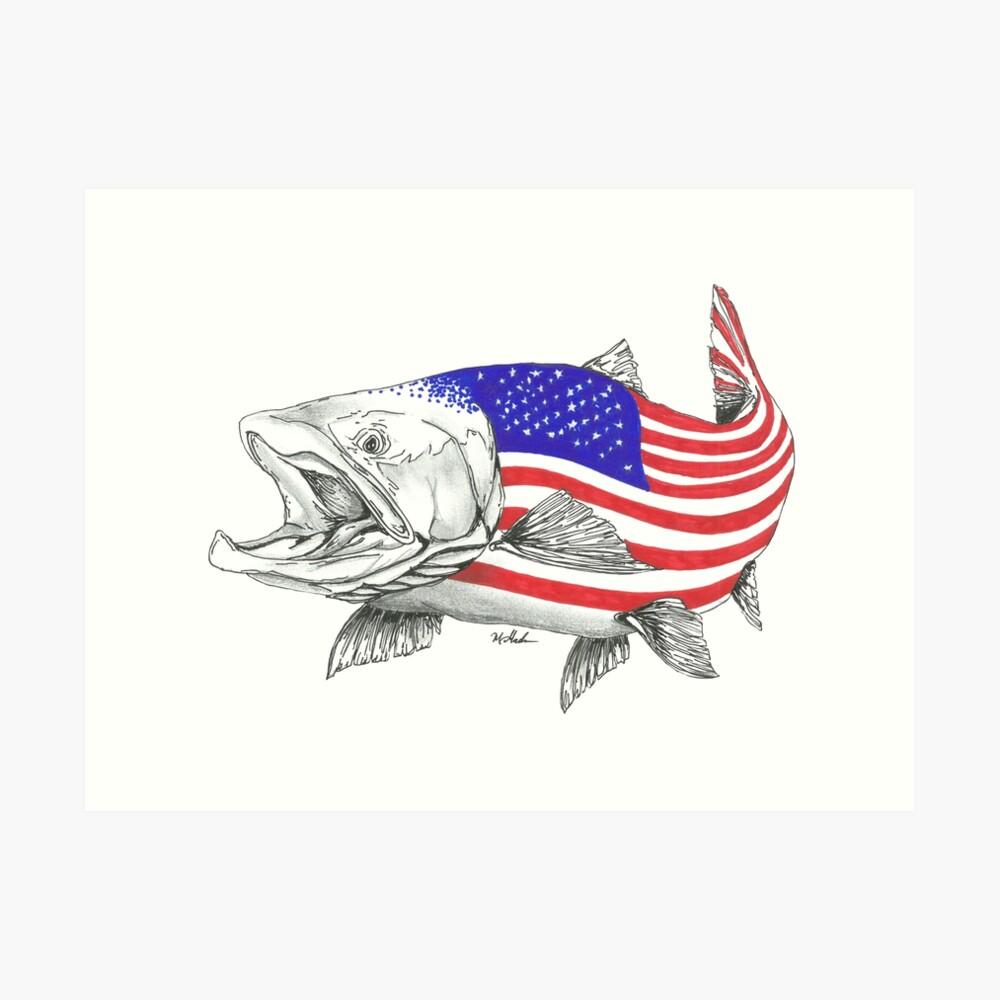 American Steel Head Salmon Lámina artística