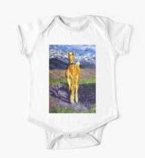 Candy Colt Horse Rocky Mountains Flowers Wildflower Hills Field Western Wildlife Palomino Animal Clouds Snow Snowcapped Beautiful Peaceful Kids Clothes