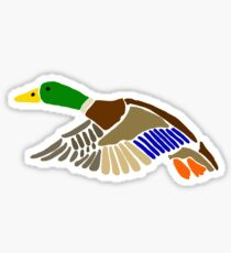 Cool Artistic Mallard Duck in Flight Art Sticker