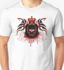 Red Gothic Skull With Crown And Blood Unisex T-Shirt