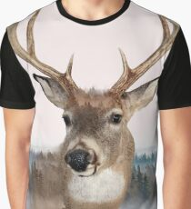 Whitetail Deer Double Exposure Graphic T-Shirt