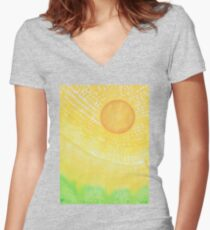First Light original painting Women's Fitted V-Neck T-Shirt