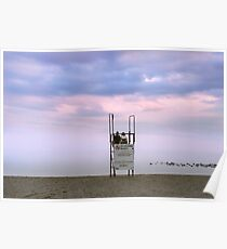 Couple at Sunset Beach Poster