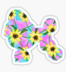 Poodle Watercolor Sunflowers Sticker