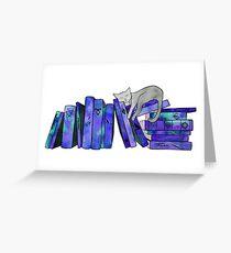 FanGirl Bookshelf Purple Greeting Card