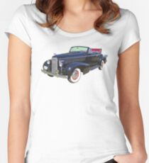 Black 1938 Cadillac Lasalle Antique Car Women's Fitted Scoop T-Shirt