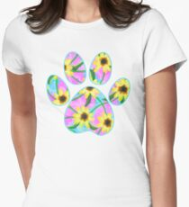 Dog Paw Watercolor Sunflowers Womens Fitted T-Shirt