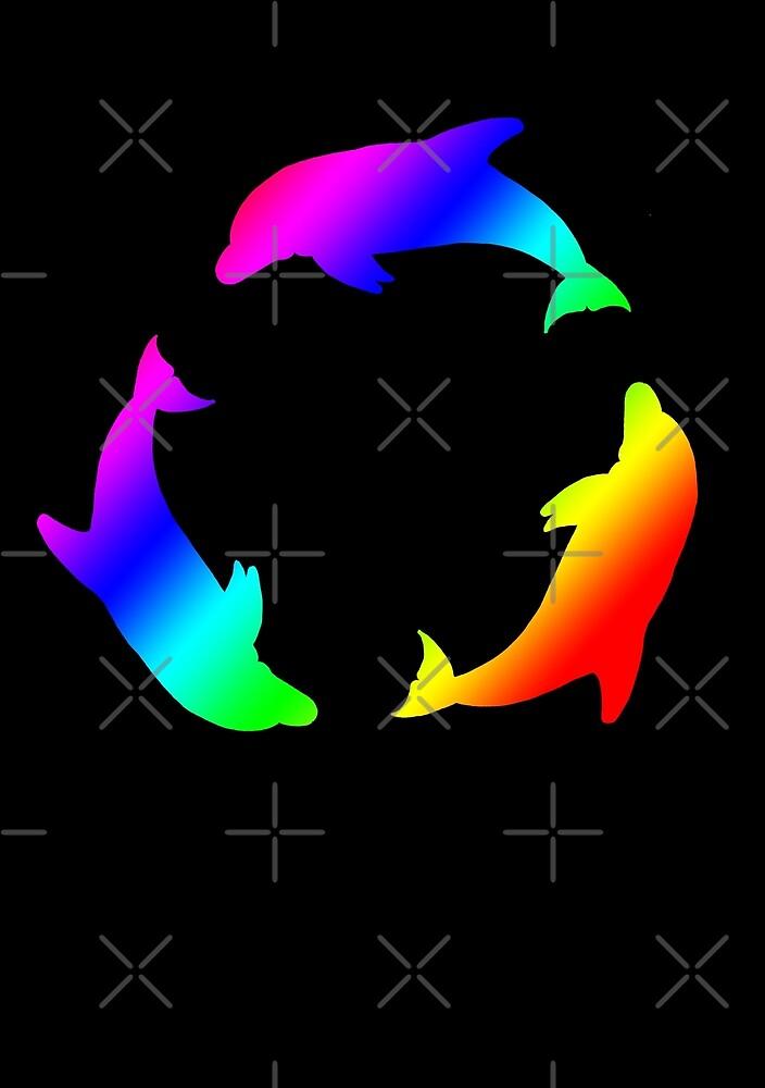 Rainbow Dolphin Circle by MotiBlack