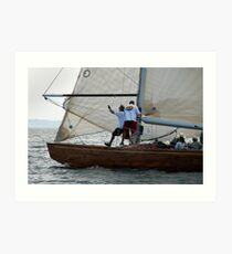 Foredeck action on board Natural Art Print