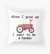 I want to be a farmer-Red Tractor Throw Pillow