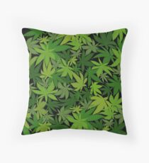 Weed Leaf Camo Throw Pillow