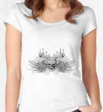Laughing vintage Dead Skull with eagle wings Women's Fitted Scoop T-Shirt