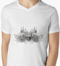 Laughing vintage Dead Skull with eagle wings Men's V-Neck T-Shirt