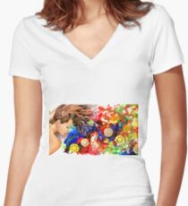 Dreaming in the garden Women's Fitted V-Neck T-Shirt