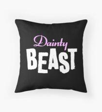 Dainty Beast (on black) Throw Pillow