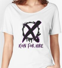 Icon For Hire XO Black Text Women's Relaxed Fit T-Shirt