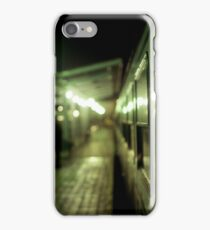 Old train at night in empty station green square Hasselblad medium format film analog photograph iPhone Case/Skin