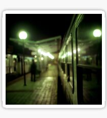 Old train at night in empty station green square Hasselblad medium format film analog photograph Sticker