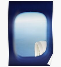 Plane wing in blue sky analogue 35mm film ra-4 darkroom photo Poster