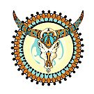 Decorative vector elelement with bull scull by Maryna  Rudzko