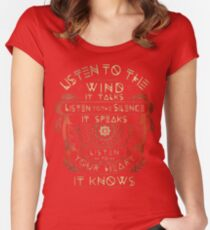 NATIVE AMERICAN LISTEN TO THE WIND IT TALKS LISTEN TO THE SILENCE IT SPEAKS LISTEN YOUR HEART IT KNOWS Women's Fitted Scoop T-Shirt