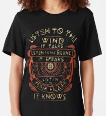 NATIVE AMERICAN LISTEN TO THE WIND IT TALKS LISTEN TO THE SILENCE IT SPEAKS LISTEN YOUR HEART IT KNOWS Slim Fit T-Shirt