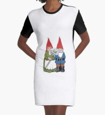 Gnome Couple with Daisy, Whimsical Fantasy Art Graphic T-Shirt Dress