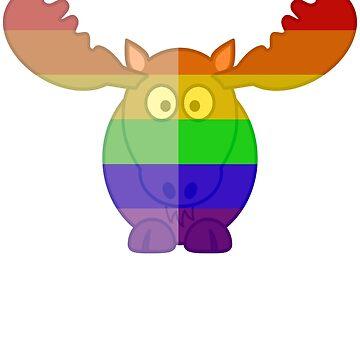 Love U Tees Funny Rainbow Animals Moose LGBT Pride Week Swag, Unique Rainbow Gifts by LoveUTees