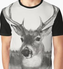 Whitetail Deer Black and White Double Exposure Graphic T-Shirt