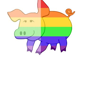 Love U Tees Funny Rainbow Animals Pig LGBT Pride Week Swag, Unique Rainbow Gifts by LoveUTees