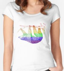 Love U Tees Funny Rainbow Animals Sloth LGBT Pride Week Swag, Unique Rainbow Gifts Women's Fitted Scoop T-Shirt
